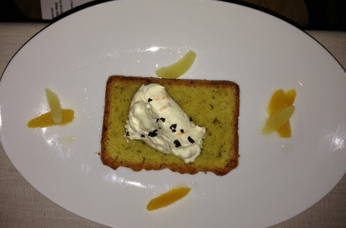 Carneros Bistro at the Lodge at Sonoma's Olive Oil Cake, Macerated Citrus, Marscapone, Candied Olive